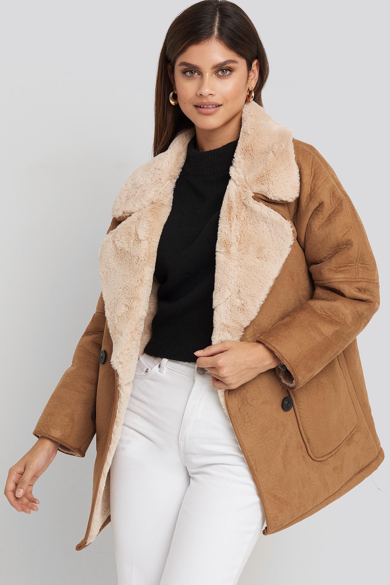 na-kd trend -  Faux Suede Fur Bonded Jacket - Brown,Beige