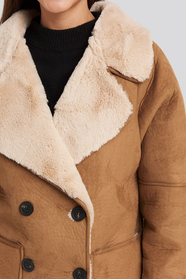 Faux Suede Fur Bonded Jacket Brown