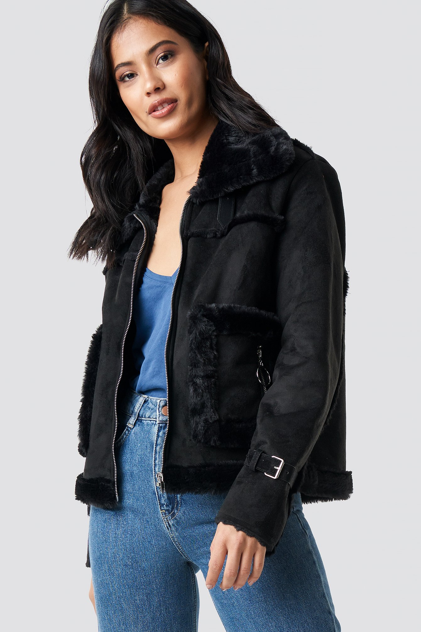 na-kd -  Faux Suede Fur Jacket - Black