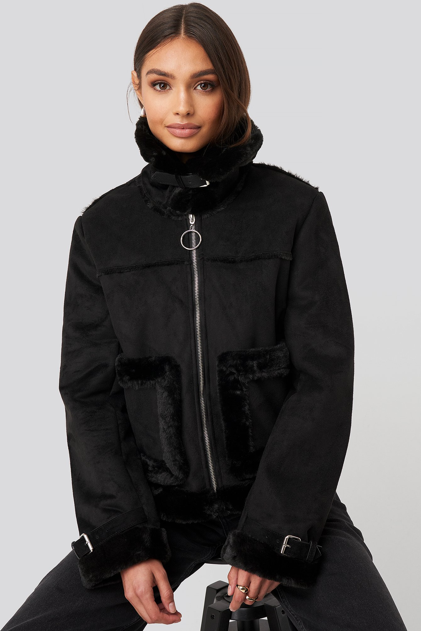 na-kd -  Faux Suede Fur Jacket - Black