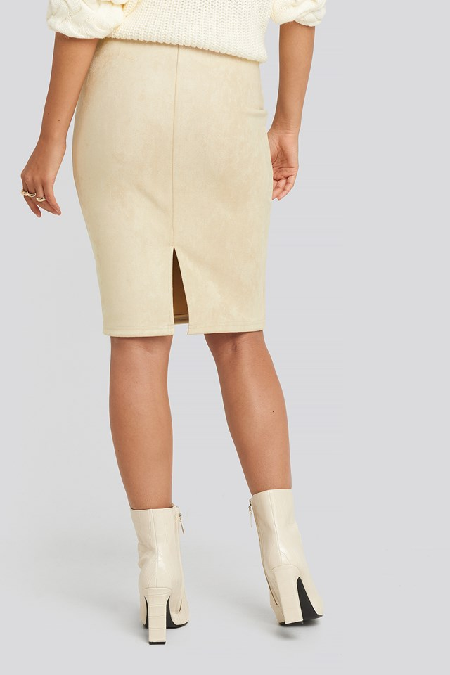 Faux Suede High Waist Skirt Light Beige