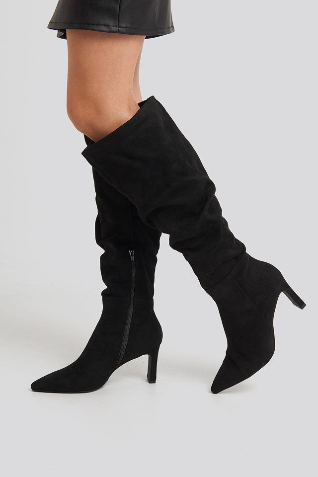 Faux Suede Loose Shaft Boots NA-KD Shoes