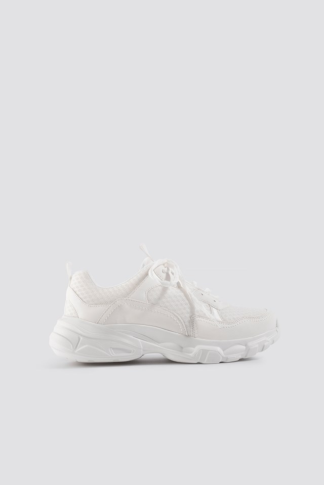 Faux Suede Mesh Trainers White
