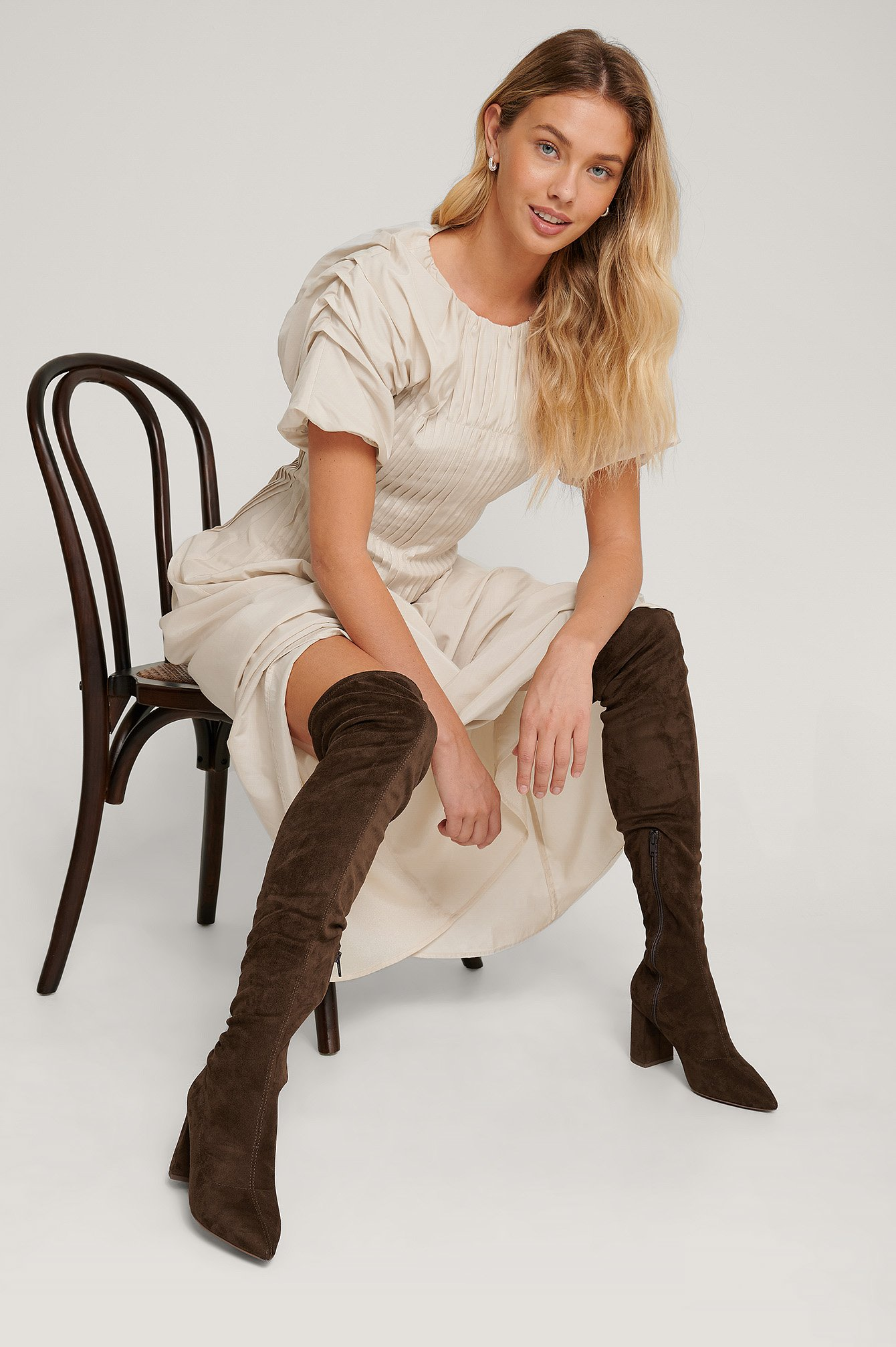 Na-Kd Shoes Faux Suede Overknee Boots - Brown
