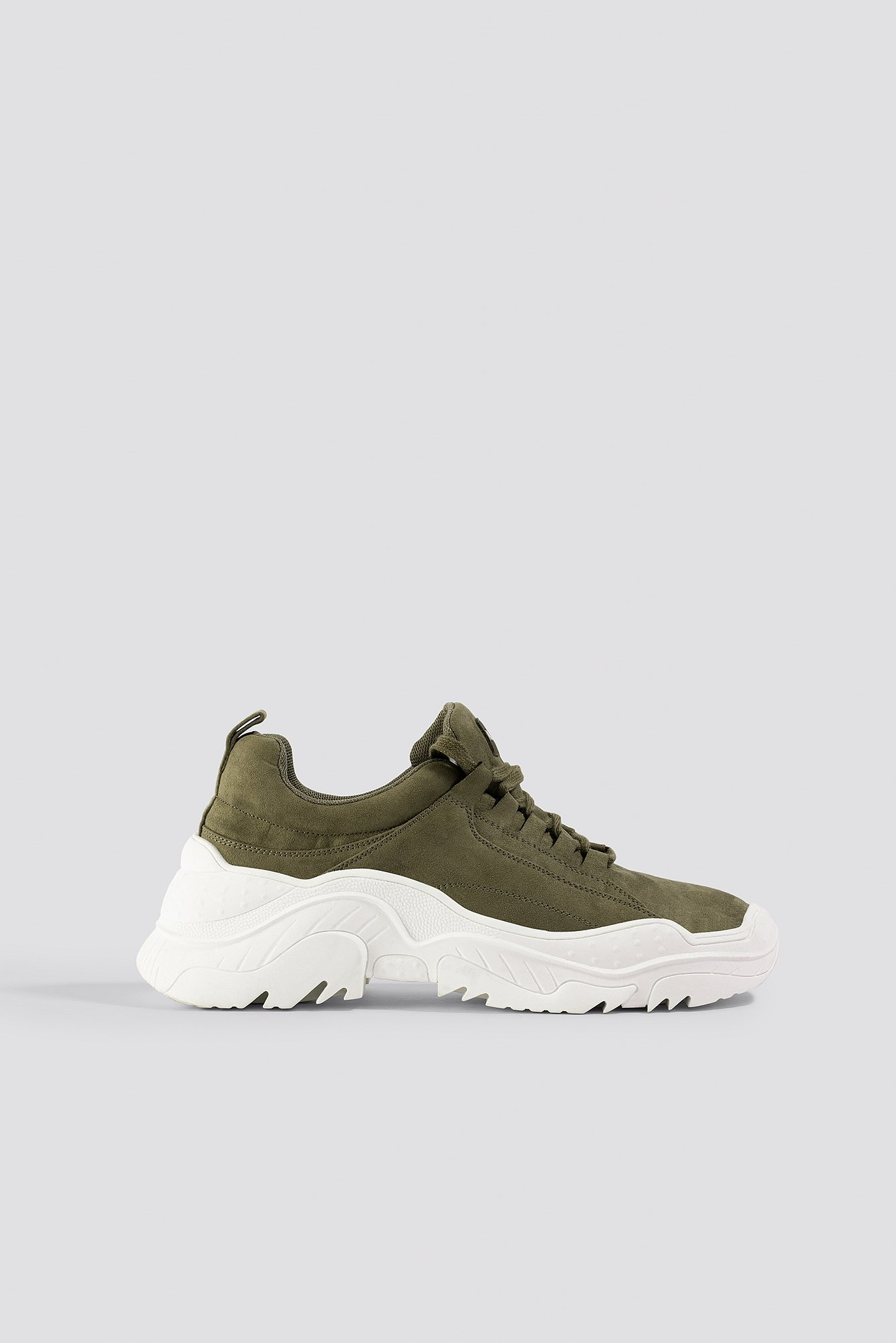 na-kd shoes -  Faux Suede Profile Trainers - Green