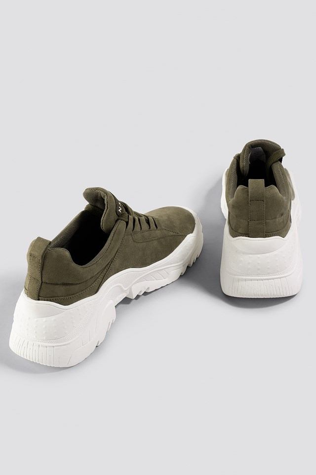 Faux Suede Profile Trainers Khaki