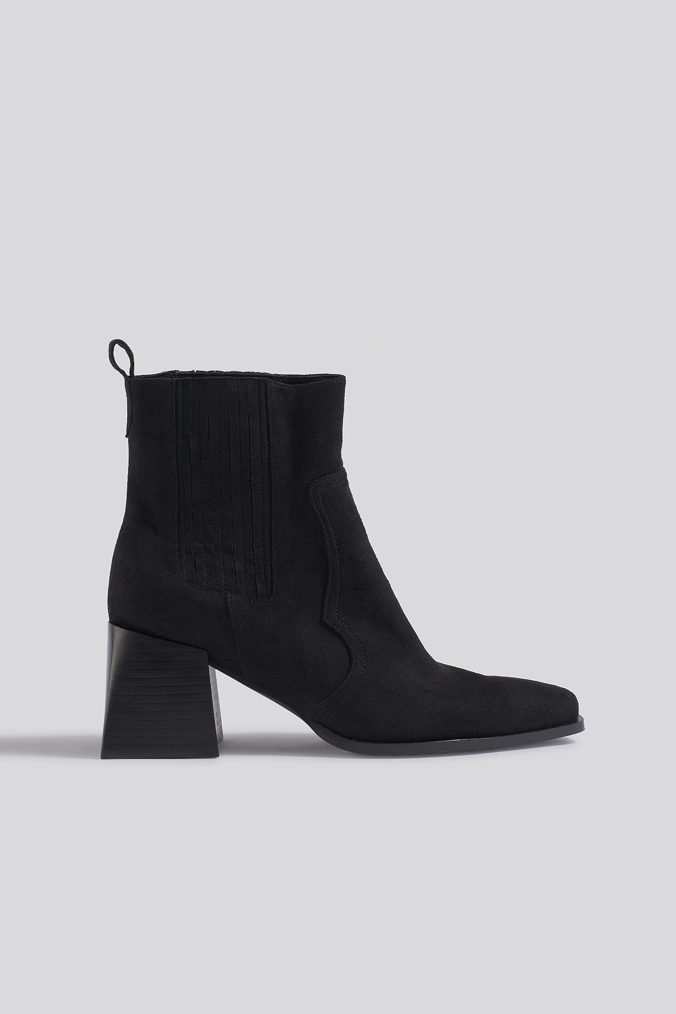 Black Suede Faux Suede Western Boots