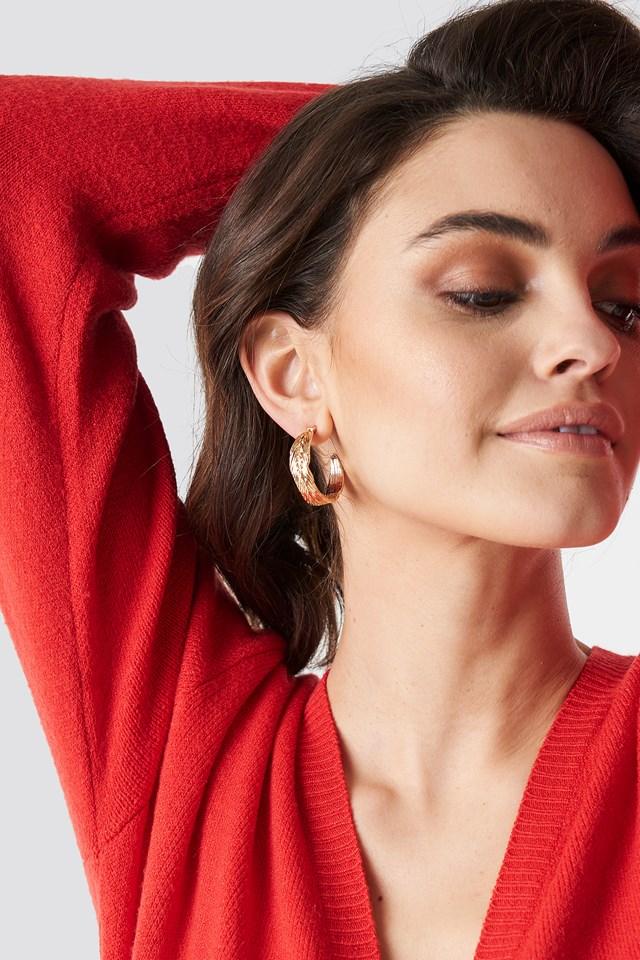 Feather Hoop Earrings NA-KD Accessories