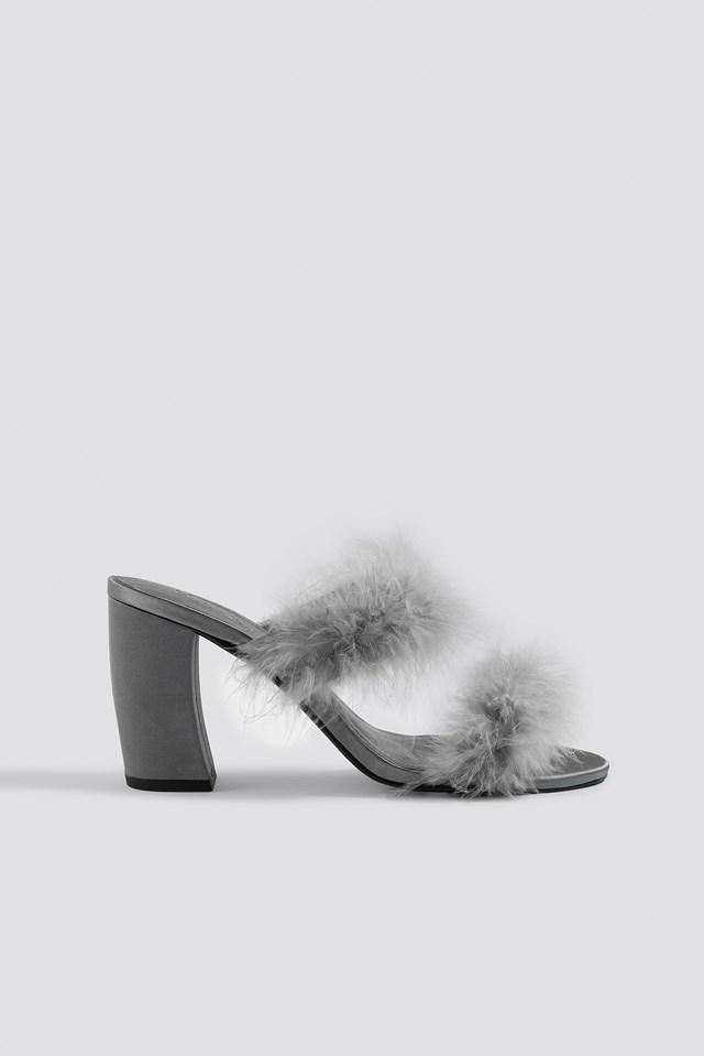 Feather Mule Heel Sandals Grey
