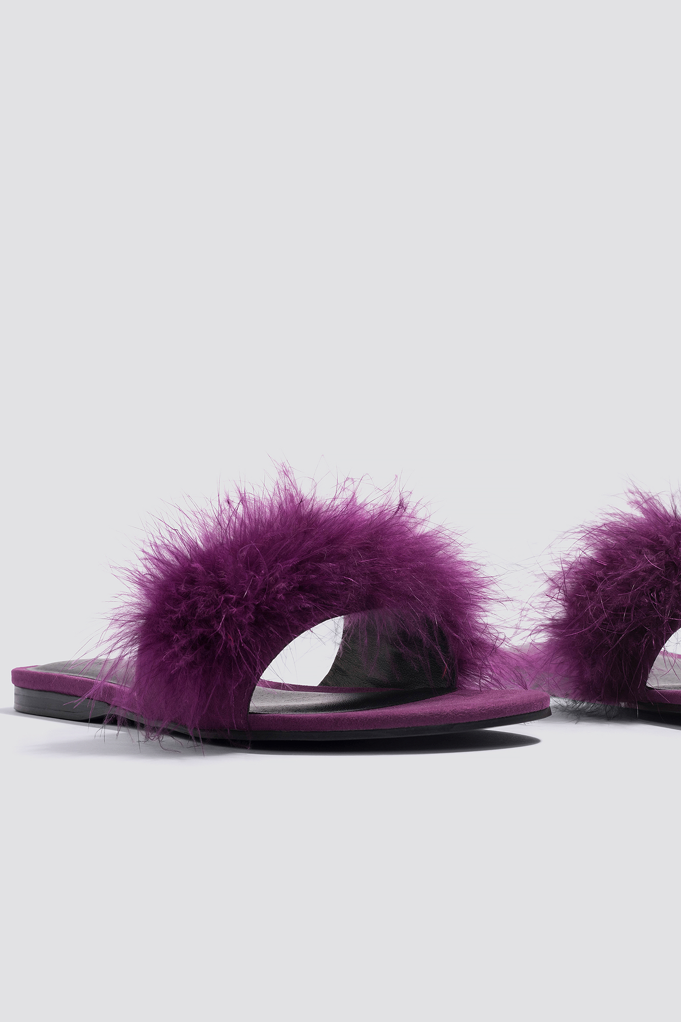 NA-KD Feather Slip-In Sandals - Purple