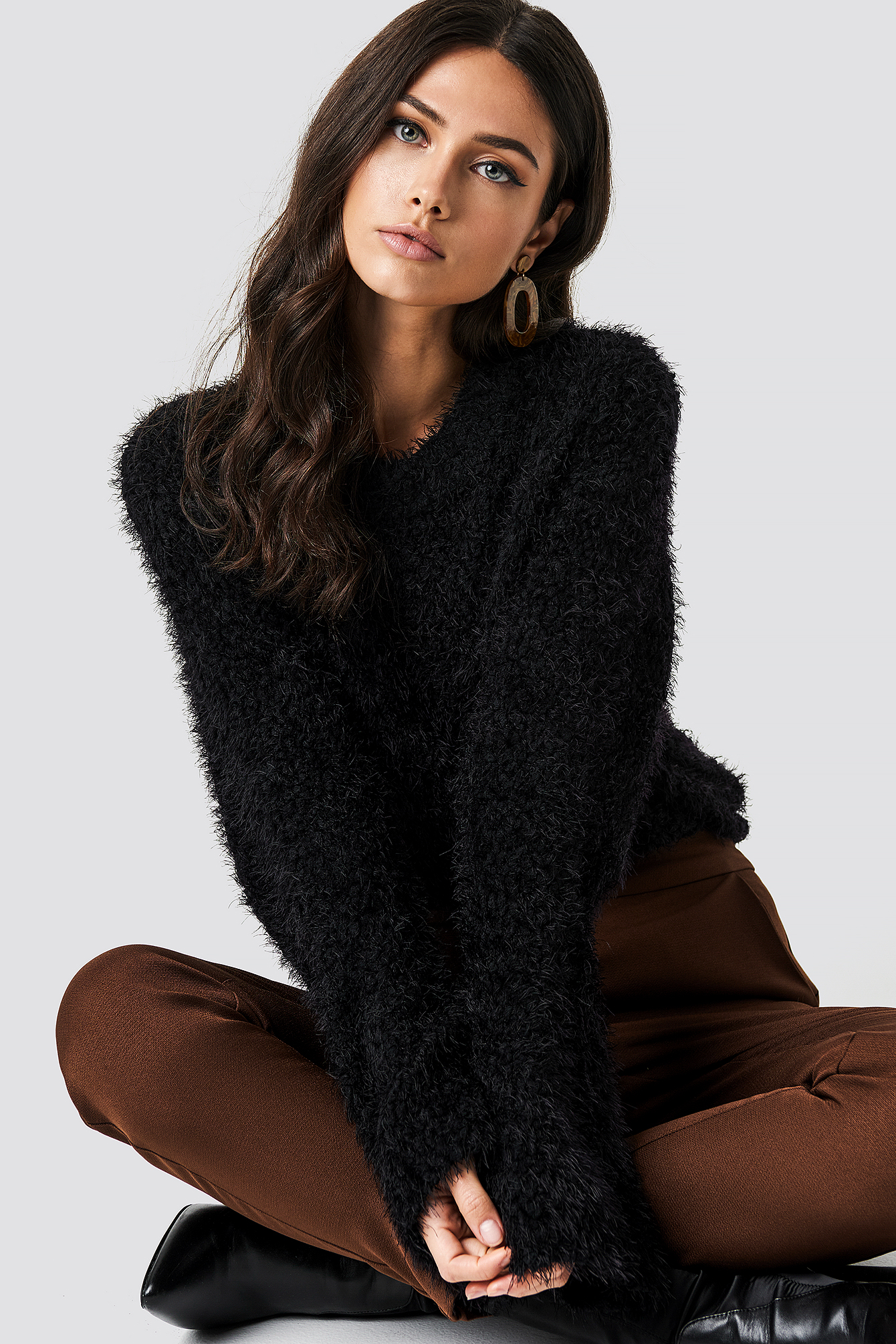 na-kd -  Feather Wide Sleeve Sweater - Black
