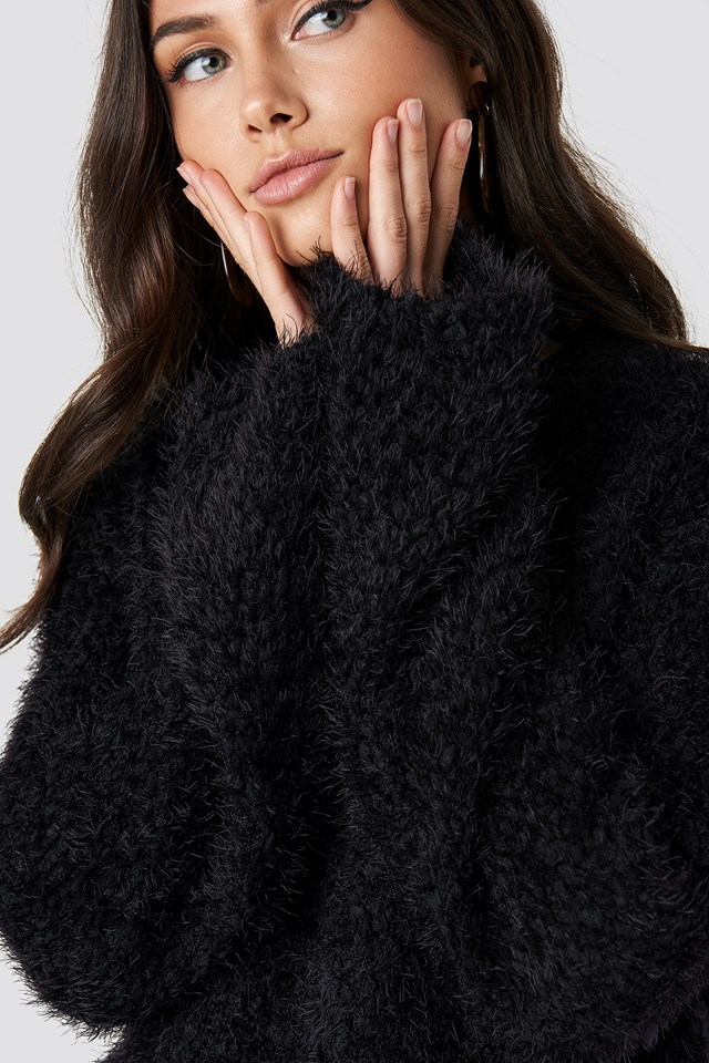 Feather Wide Sleeve Sweater Black