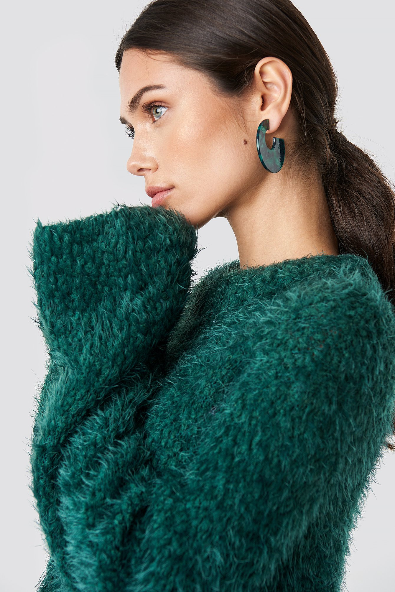 na-kd -  Feather Wide Sleeve Sweater - Green