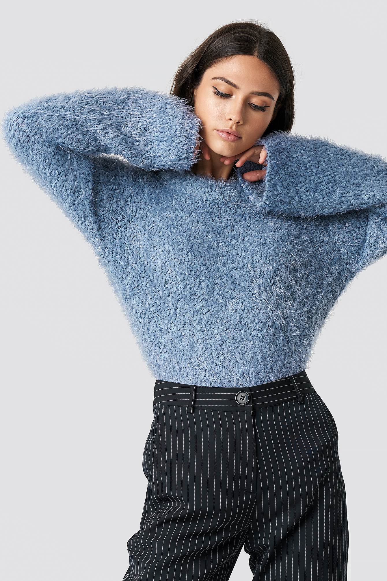 na-kd -  Feather Wide Sleeve Sweater - Blue