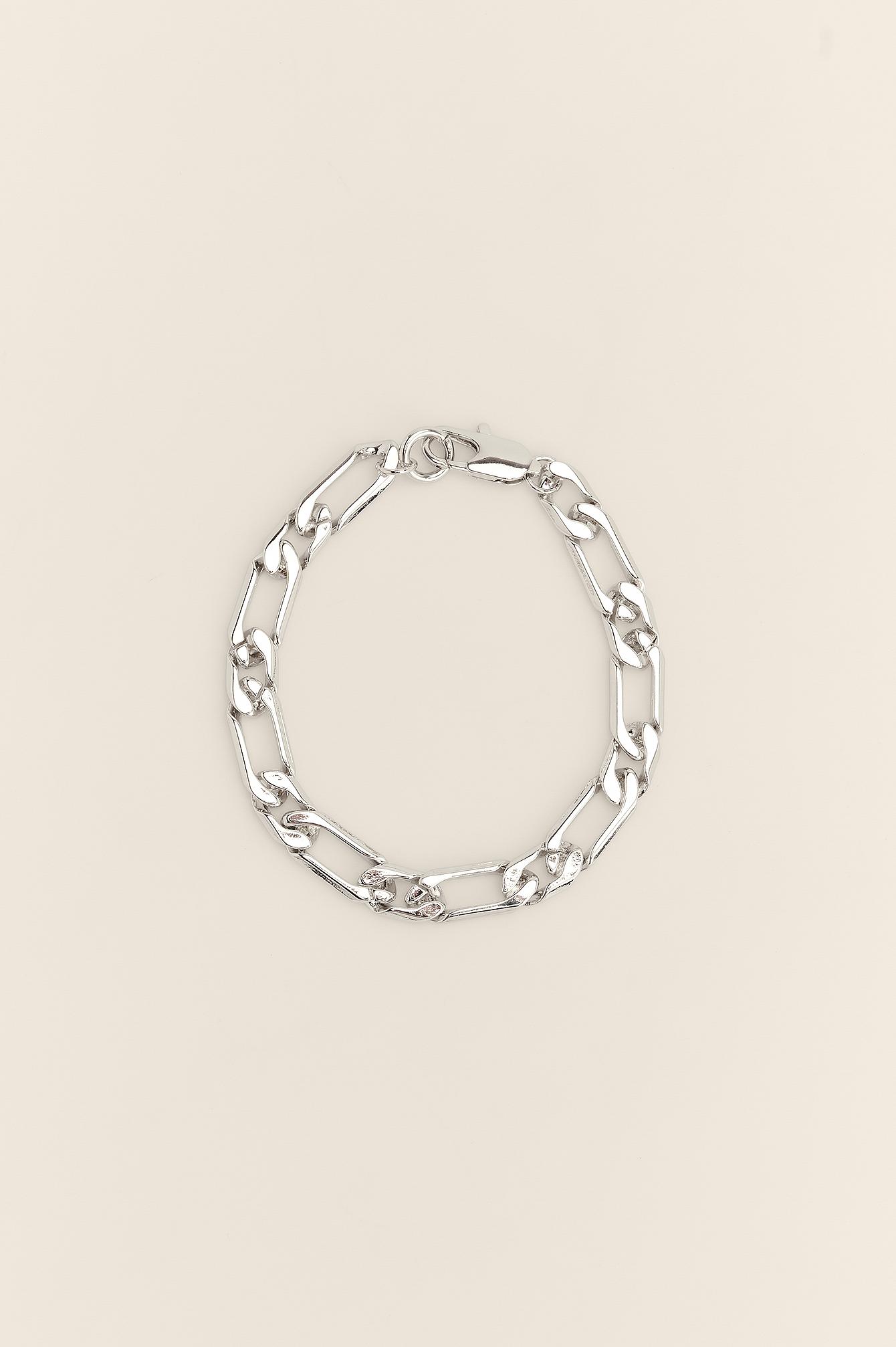 NA-KD Accessories Ankelkæde I Genanvendt Materiale Med Figaro-Kæde - Silver