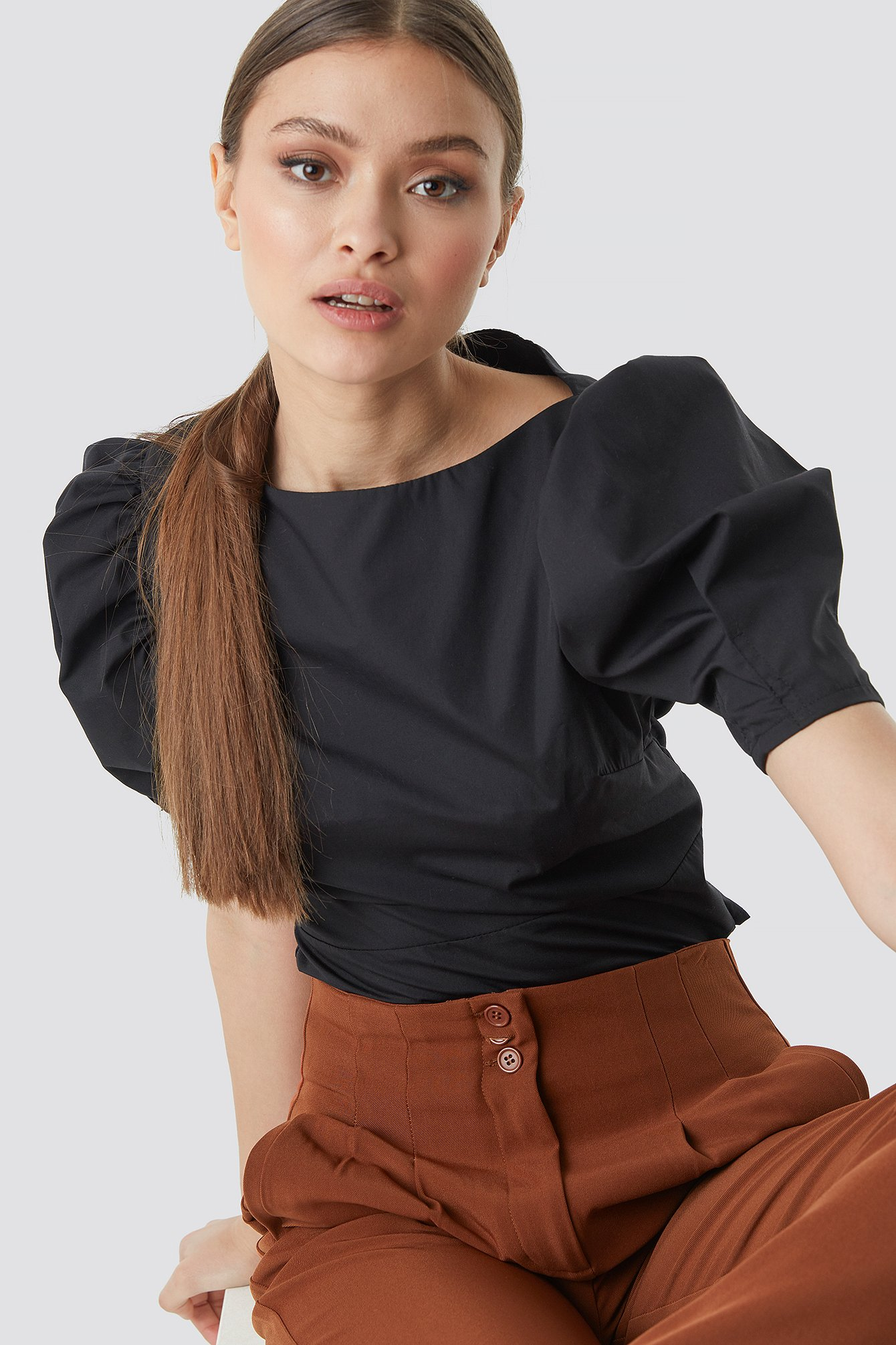 Fitted Puff Sleeve Top Black  a366a1810