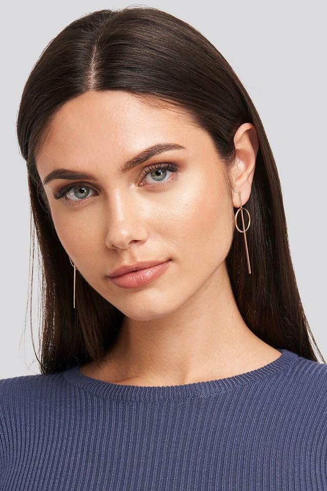 Fine Bar Ring Earrings Gold