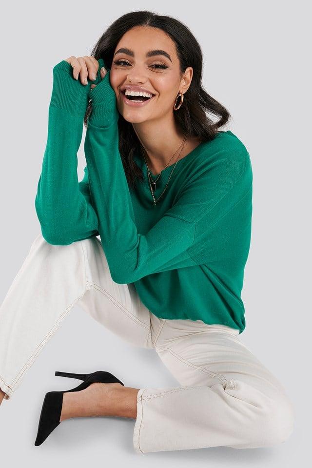 Fine Knit Drop Hem Sweater Dark Green