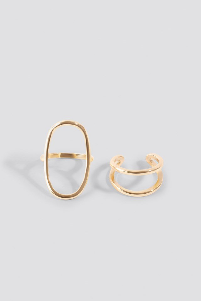 Fine Shaped Rings (Double Pack) Gold