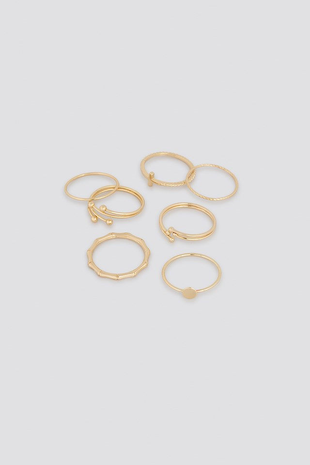 Fine Stacking Rings (7-Pack) Gold