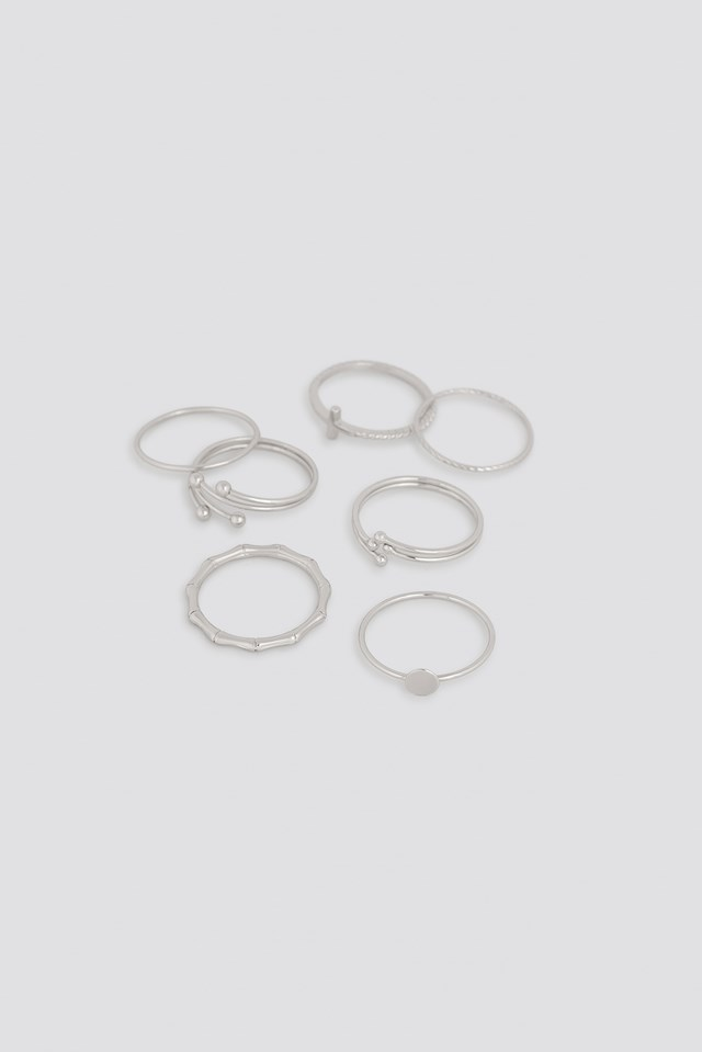 Fine Stacking Rings (7-Pack) Silver