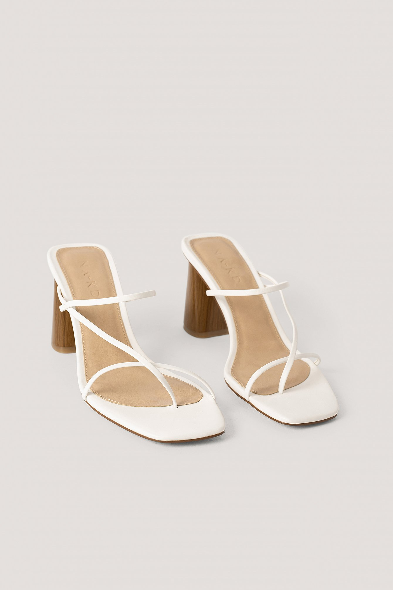 na-kd shoes -  Fine Strappy Block Heel Sandals - White