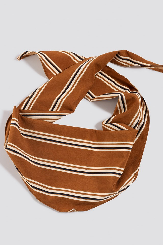 Fine Striped Hair Scarf Cognac