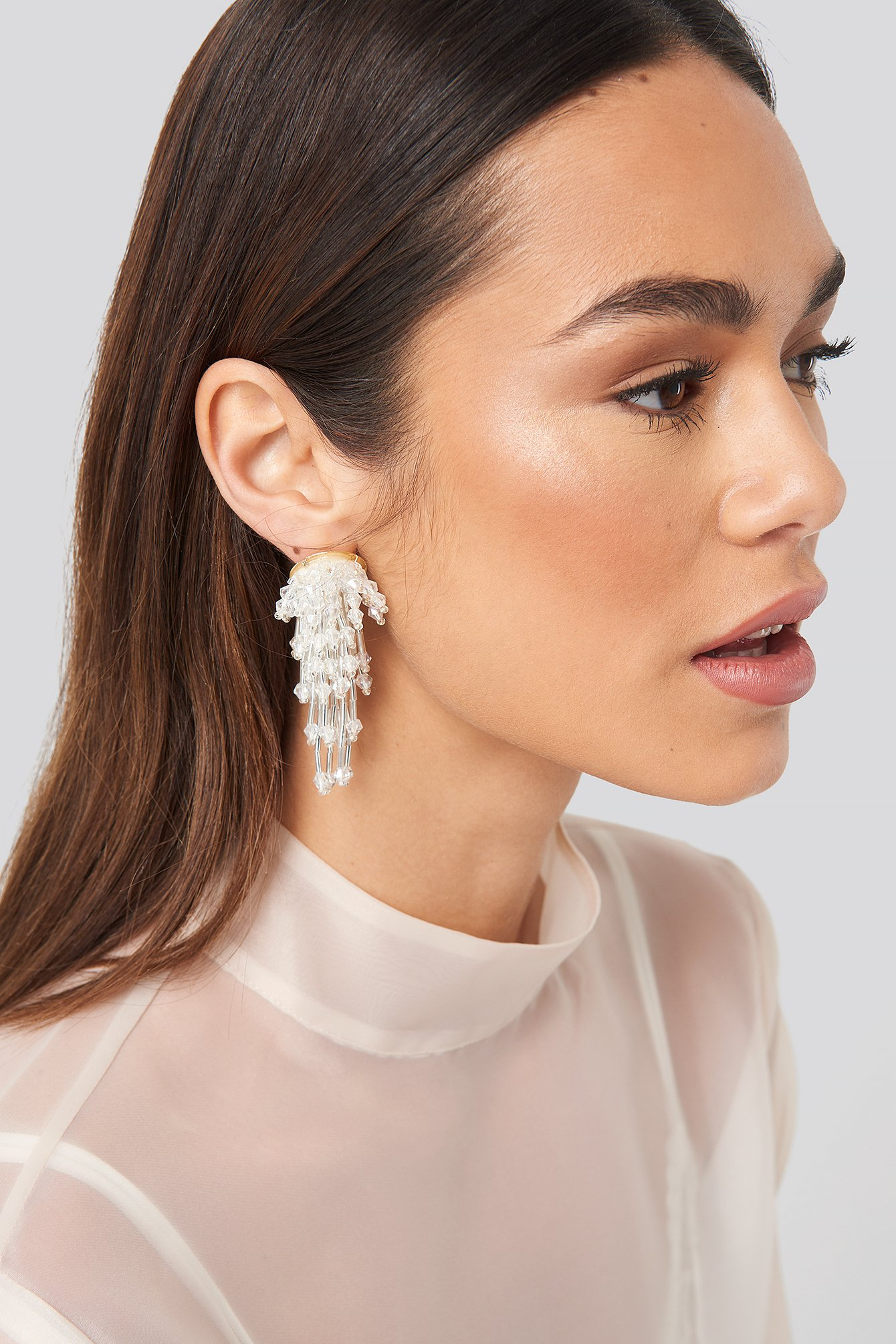 na-kd accessories -  Sparkling Firework Beaded Earrings - Silver