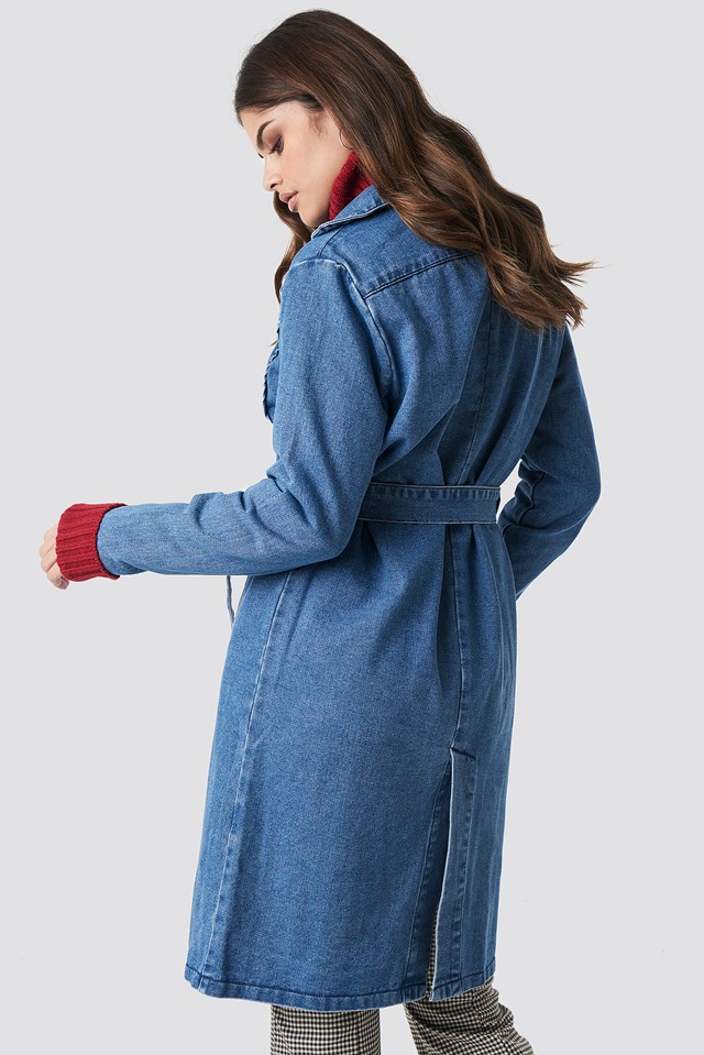 Fitted Long Denim Jacket Mid Blue