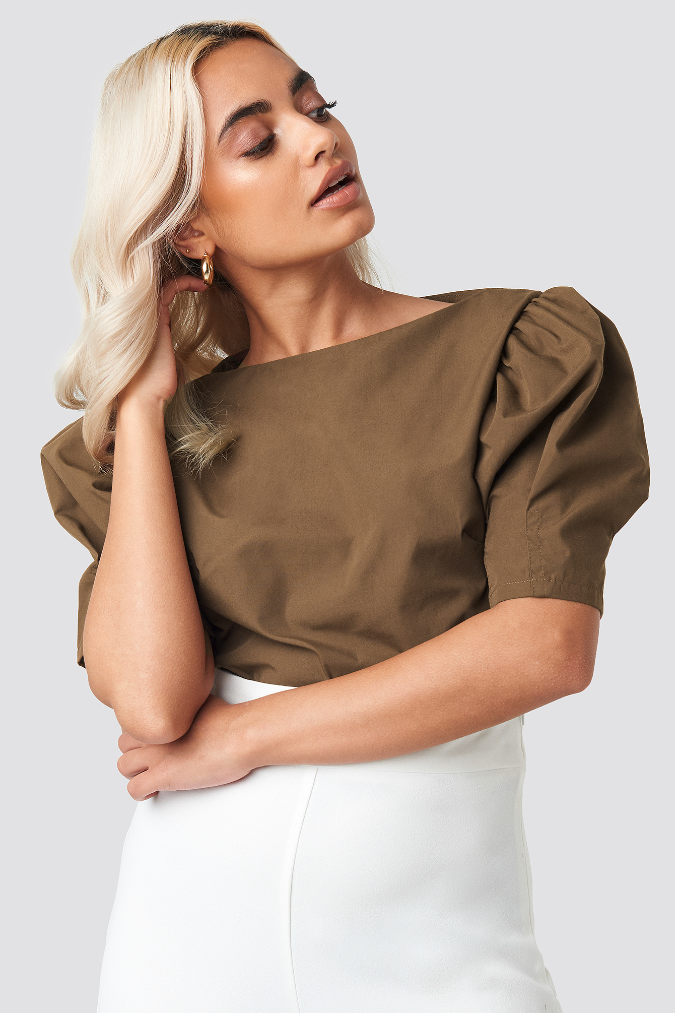 Fitted Puff Sleeve Top NA-KD.COM