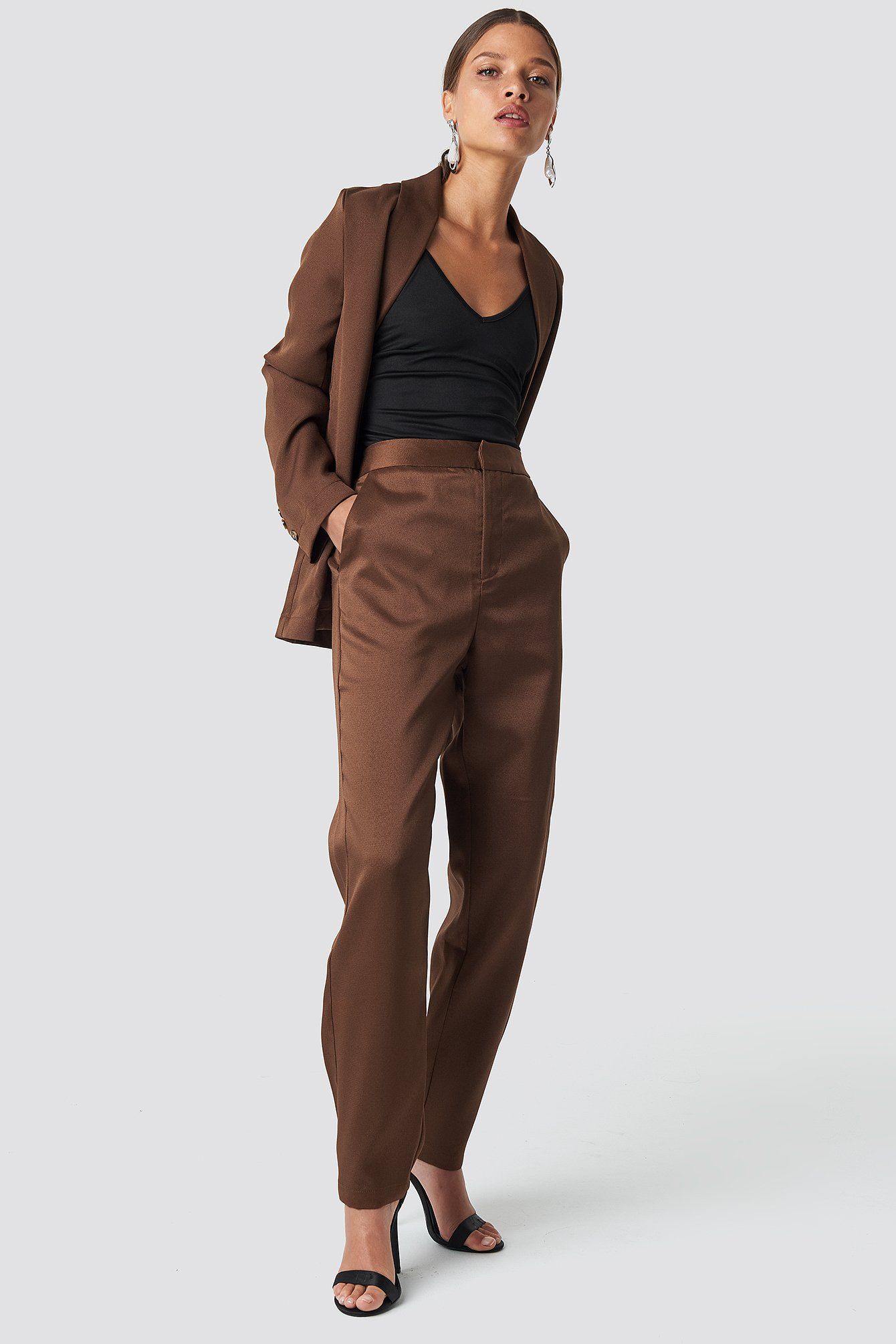 Fitted Suit Pants Brun by Nakdclassic
