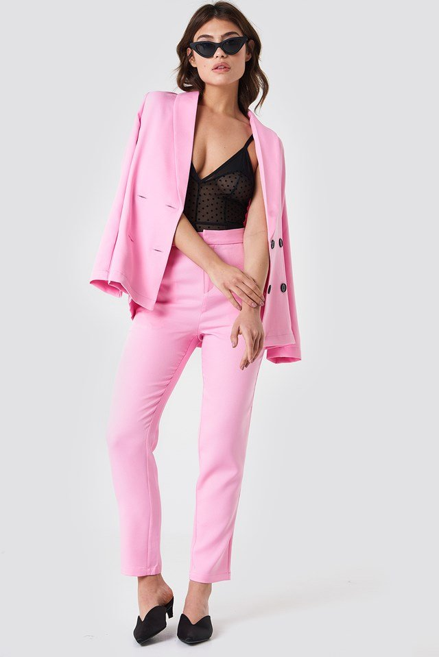 fitted suit pants light pink