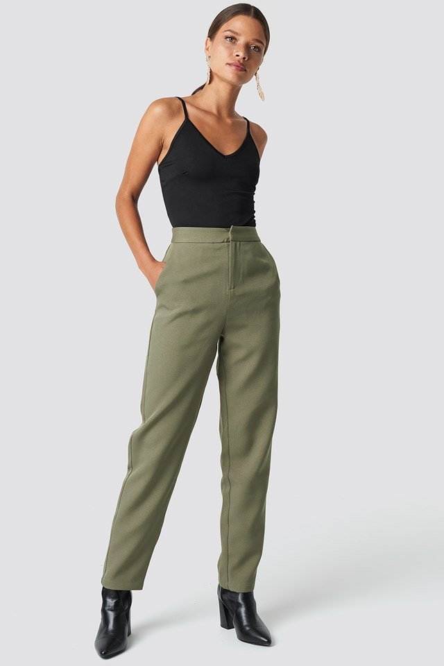 Fitted Suit Pants Khaki Green