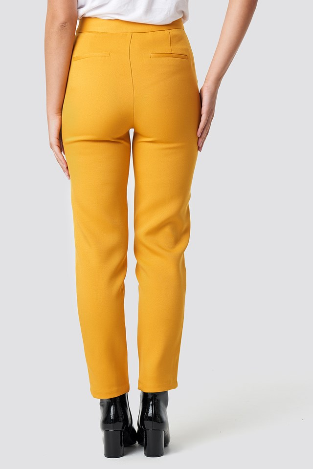 Fitted Suit Pants Mustard Yellow
