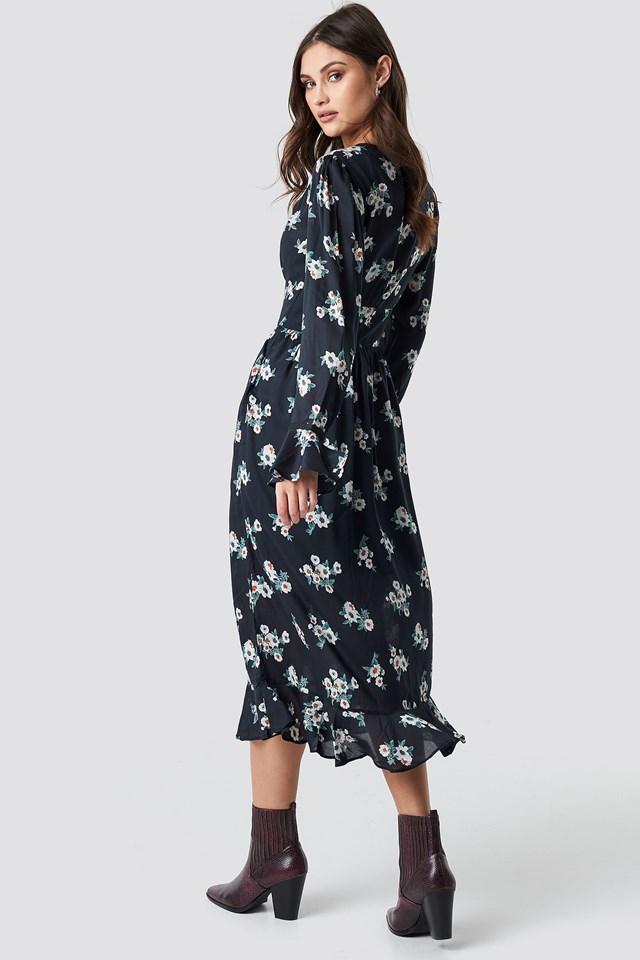 Fitted Waist Frill Detail Dress Black Flower Print