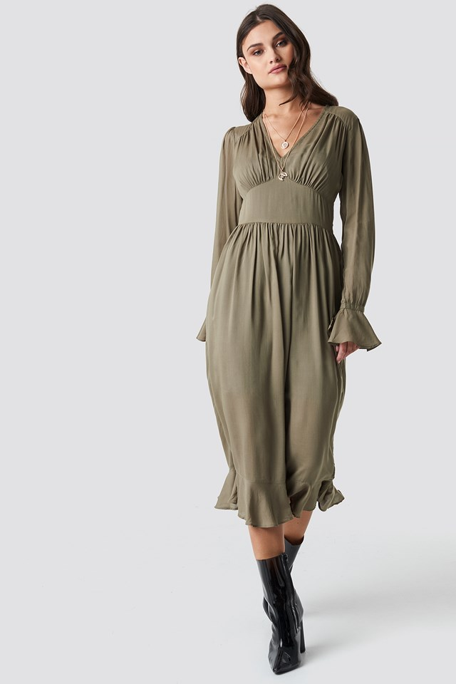 Fitted Waist Frill Detail Dress Khaki Green