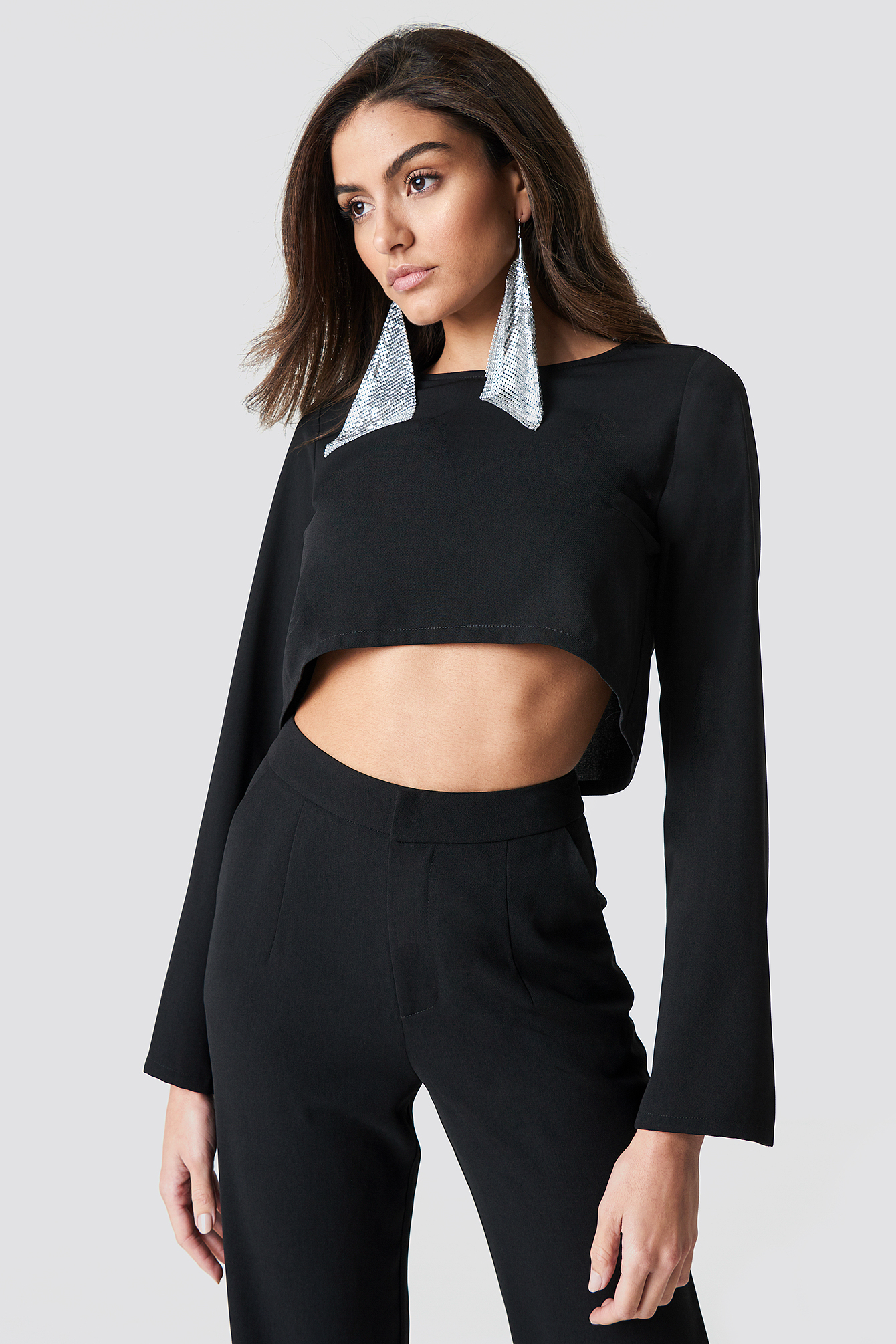 Flare Sleeve Crop Top NA-KD.COM