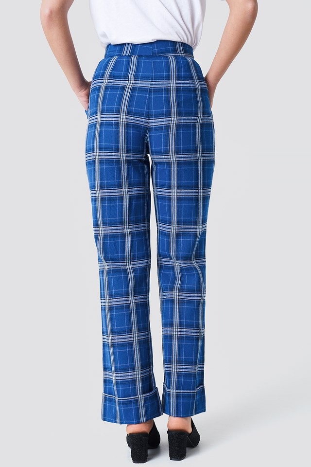 Flared Checkered Pants Blue Check