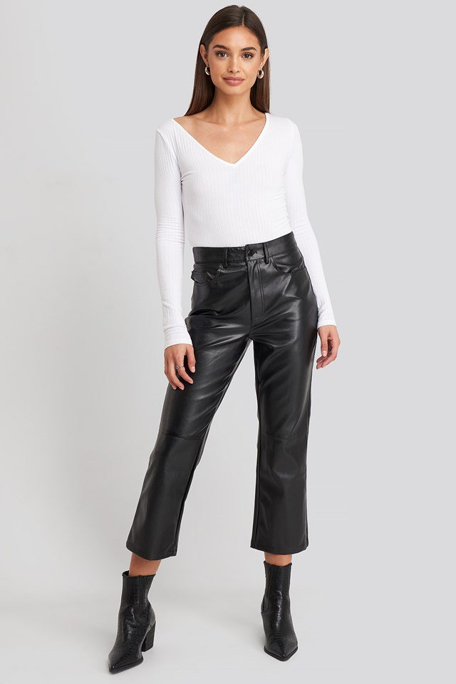 Flared Cropped PU Pants Black