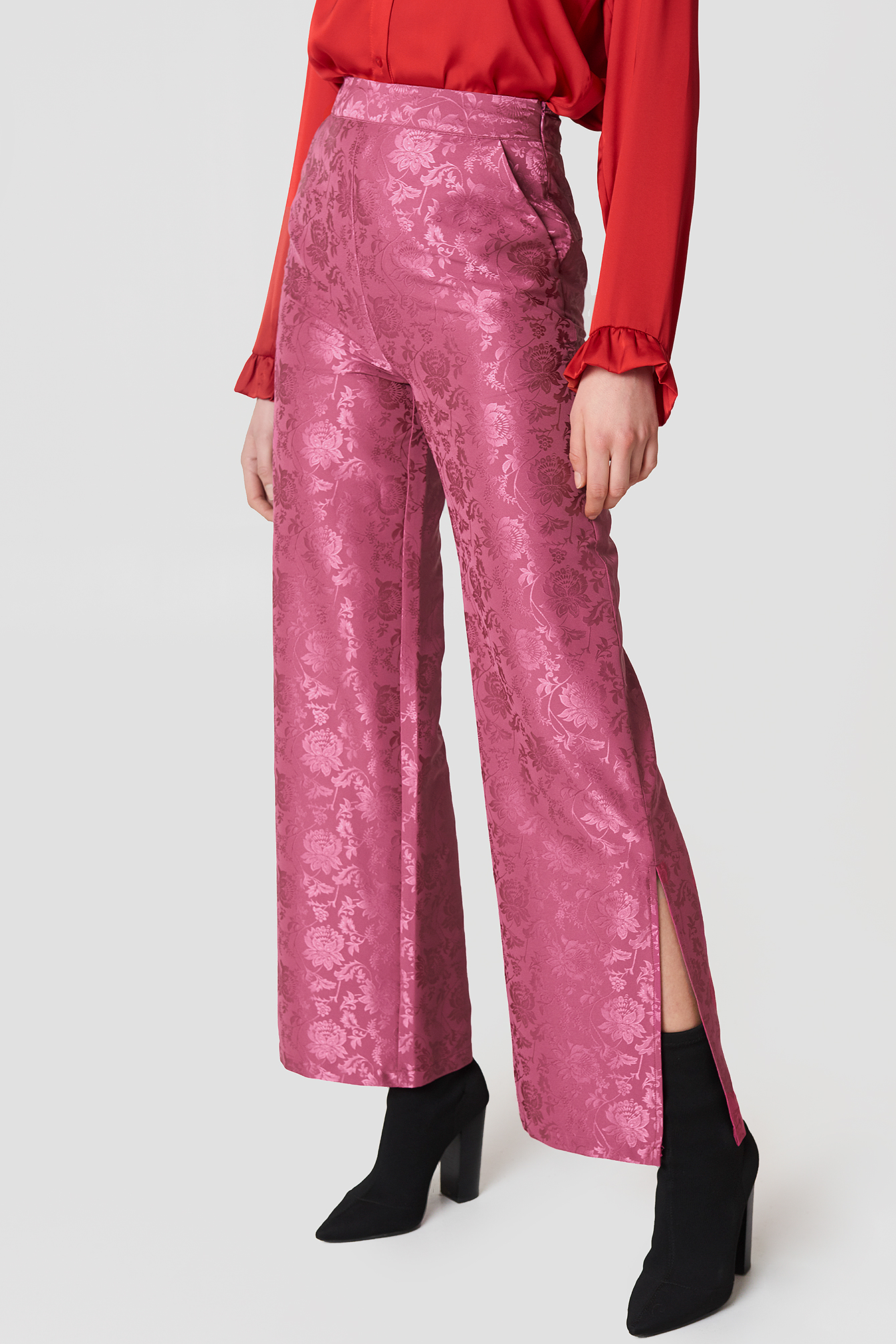 Flared Flower Jacquard Pants NA-KD.COM