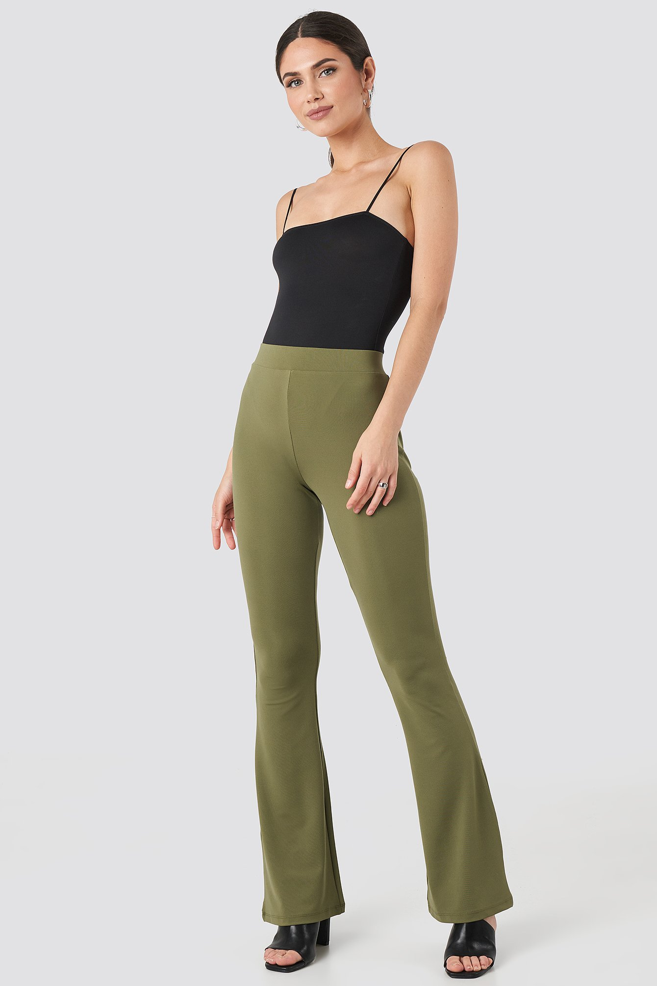 NA-KD Trend Flared Leggings - Green