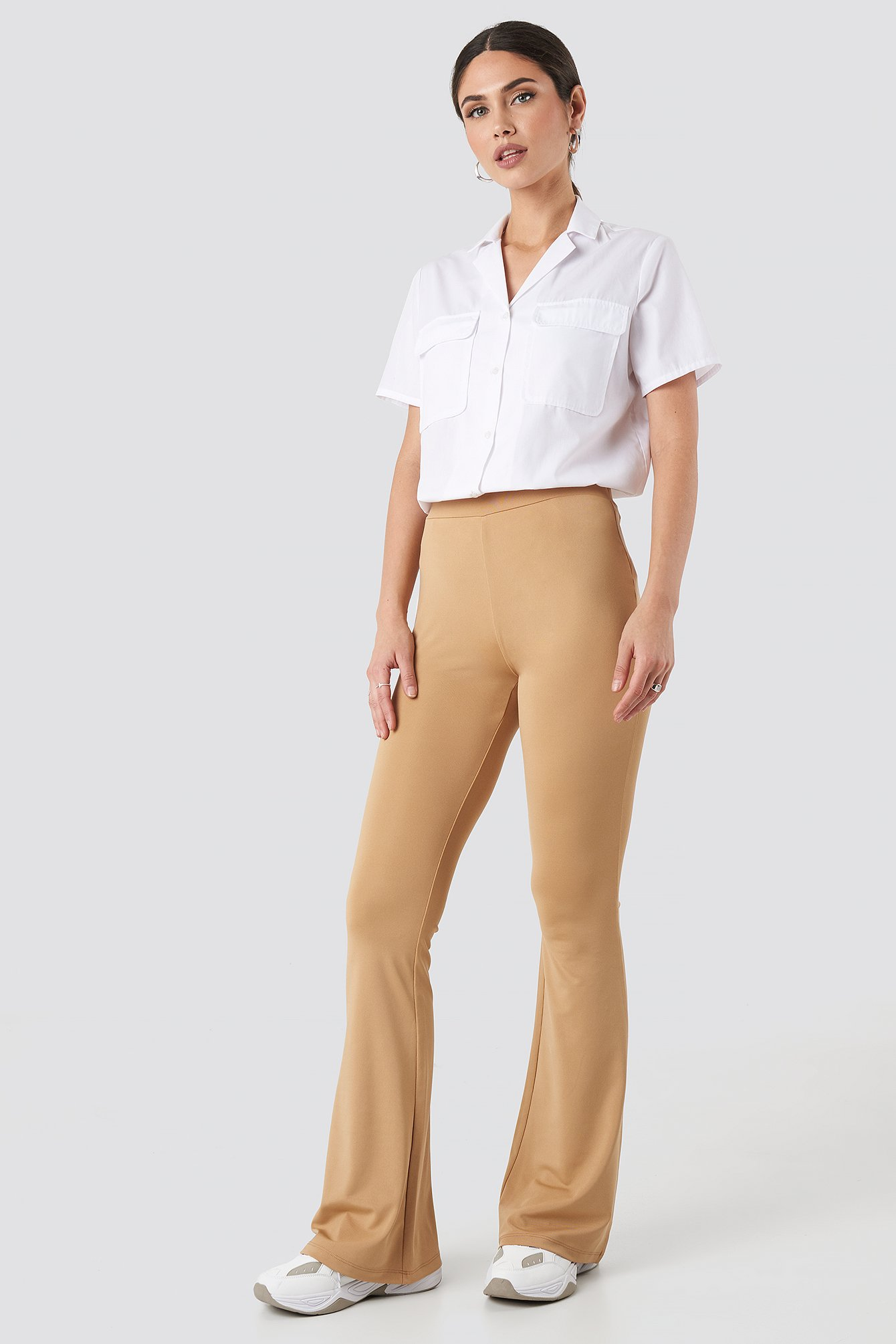 NA-KD Trend Flared Leggings - Beige