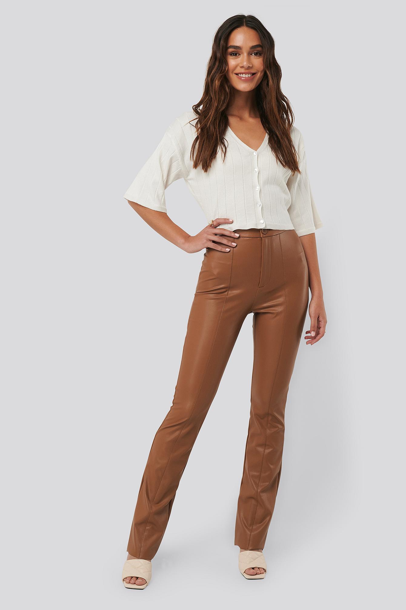 na-kd -  Flared PU Pants - Brown