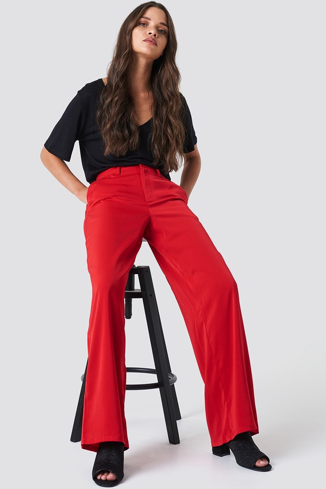 Flared Shiny Suit Pants Red