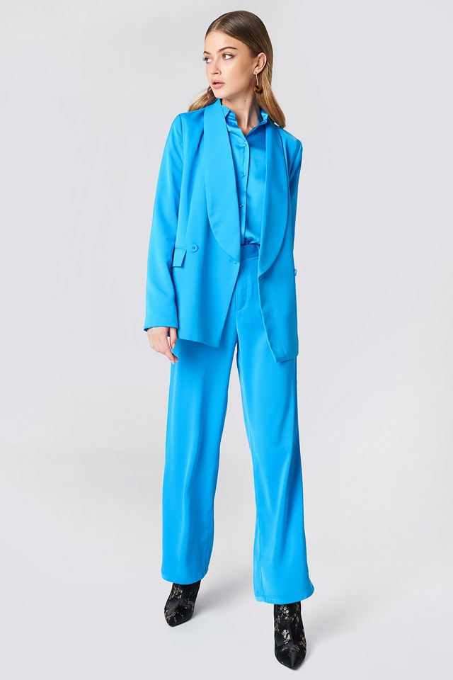 Flared Shiny Suit Pants Ocean Blue