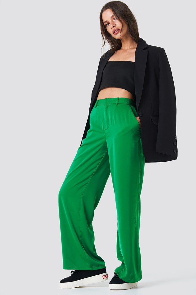 Flared Shiny Suit Pants Emerald Green