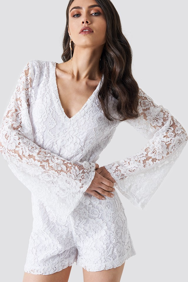 Flared Sleeve Lace Playsuit White