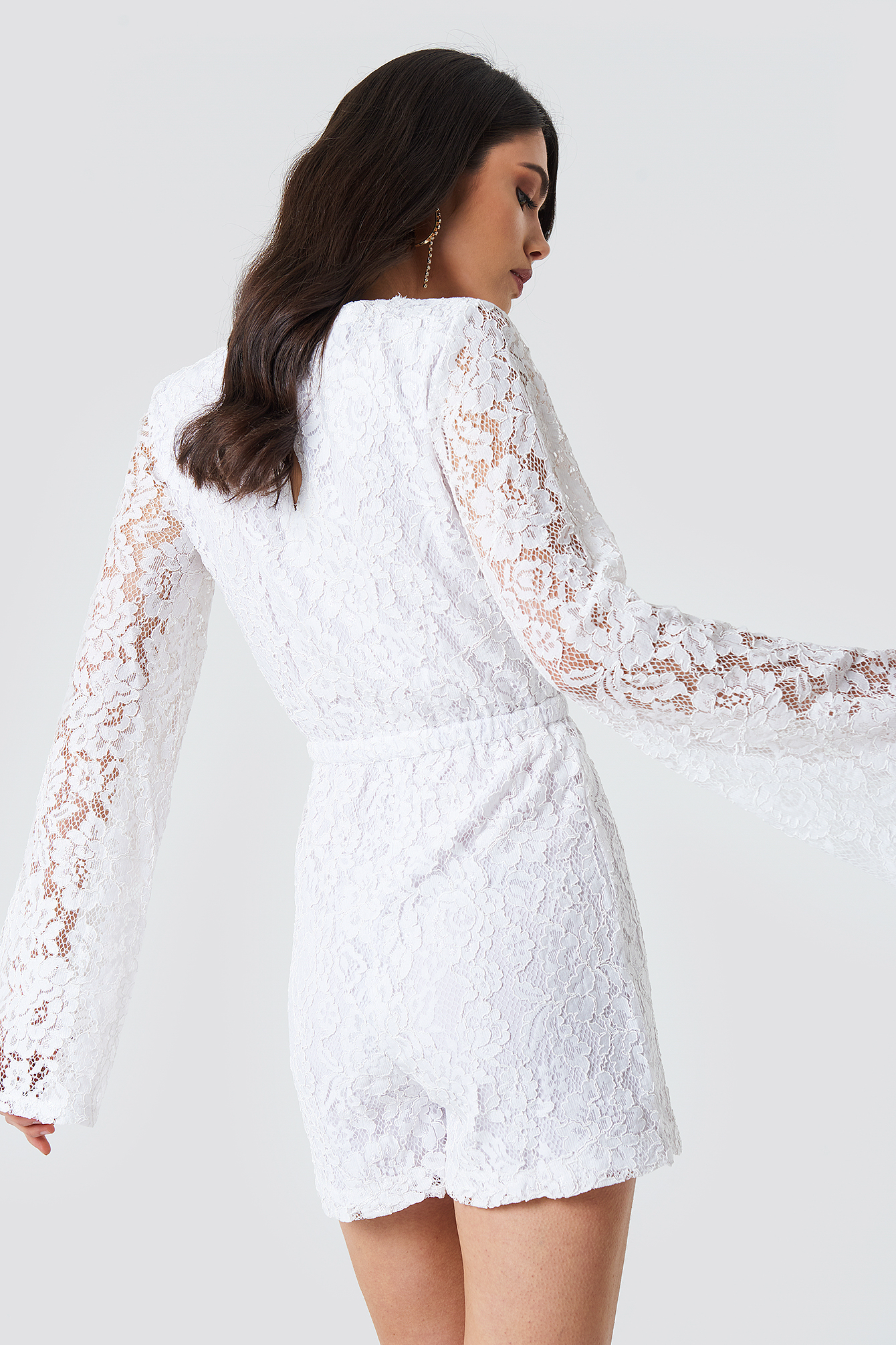 Flared Sleeve Lace Playsuit NA-KD.COM