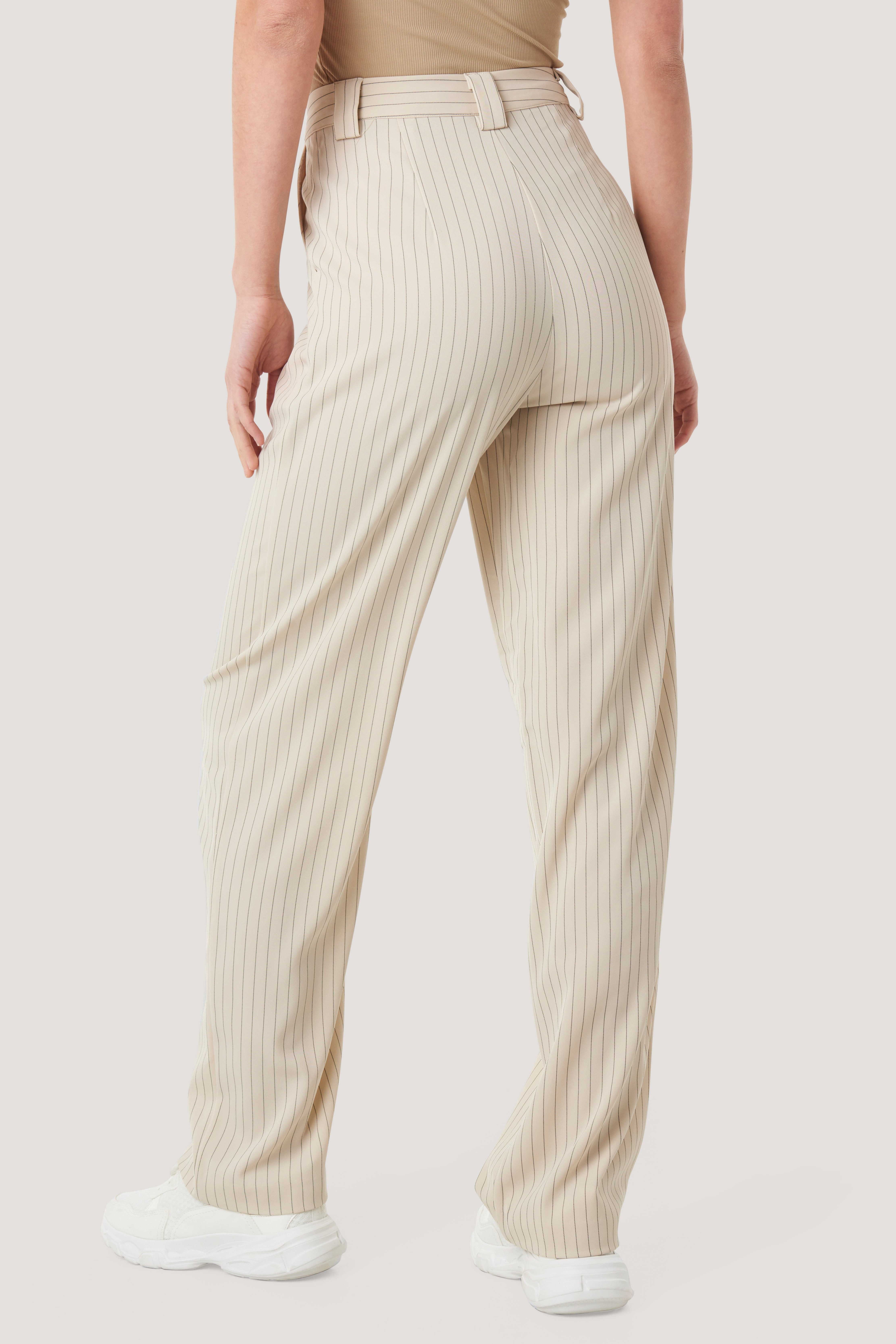 Beige Flared Striped Pants