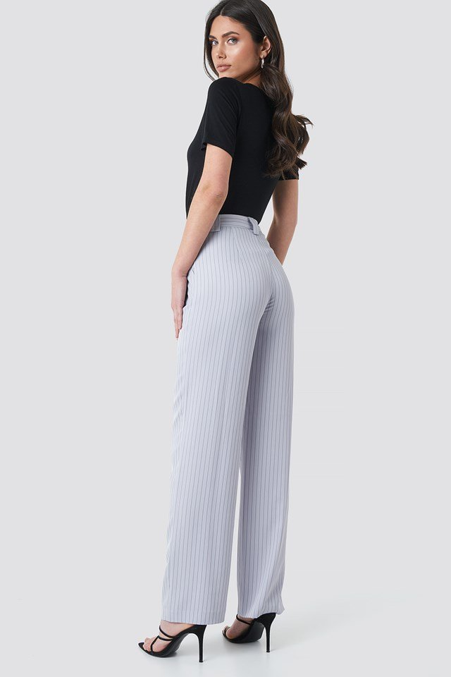 Flared Striped Pants Light Blue